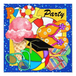 Graduation Pool Party - SRF 13 Cm X 13 Cm Square Invitation Card