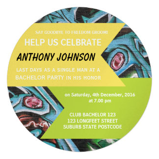 Graffiti Bachelor Party Invitation Invites