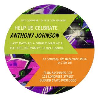 Graffiti Bachelor Party Invitation Personalised Invitation