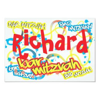 Graffiti Bar Mitzvah RSVP 9 Cm X 13 Cm Invitation Card