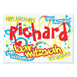 Graffiti Bar Mitzvah RSVP 9 Cm X 13 Cm Invitation Card