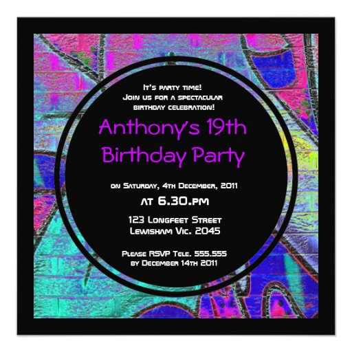 Graffiti Birthday Invitation