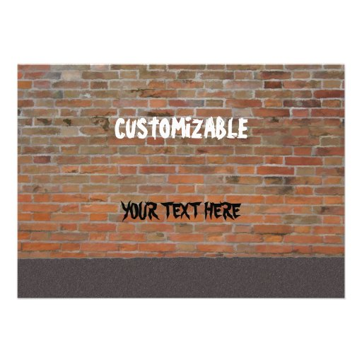 Graffiti Brick Wall Customizable Personalized Invitations