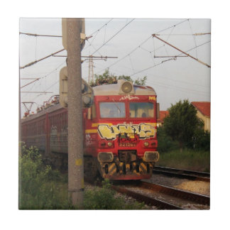 Graffiti Covered Train Small Square Tile