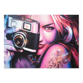 Graffiti Girl Photographer 13 Cm X 18 Cm Invitation Card