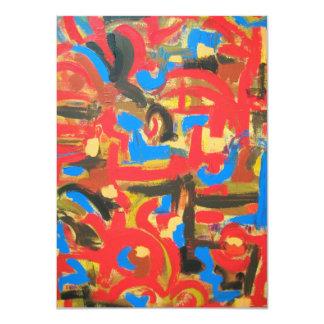 Graffiti In The Attic-Abstract Art Brushstrokes 11 Cm X 16 Cm Invitation Card