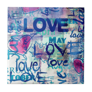 Graffiti Love Small Square Tile