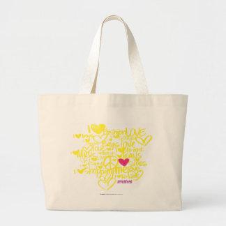 Graffiti Magenta/Yellow Large Tote Bag