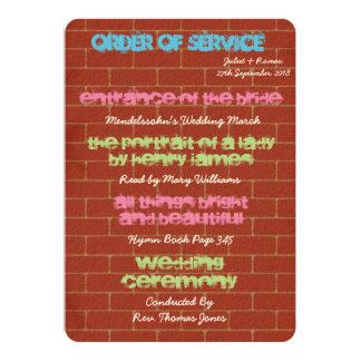 Graffiti Order of Service 13 Cm X 18 Cm Invitation Card