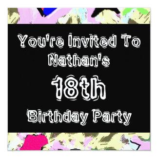 Graffiti ~ Party 13 Cm X 13 Cm Square Invitation Card