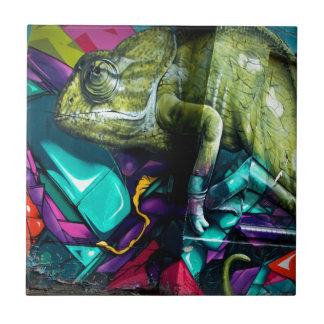 Graffiti reptile small square tile