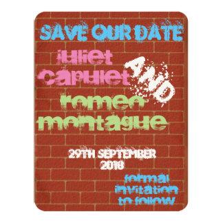 Graffiti Save the Date 11 Cm X 14 Cm Invitation Card