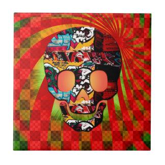 graffiti skull small square tile