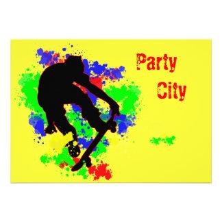 Graffiti Splotch Skateboard Party Announcements