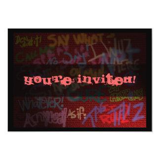 Graffiti Style 13 Cm X 18 Cm Invitation Card