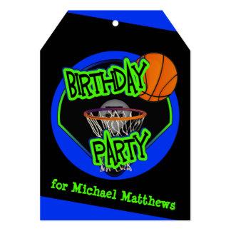 Graffiti Style Basketball and Hoop 9th Birthday 13 Cm X 18 Cm Invitation Card