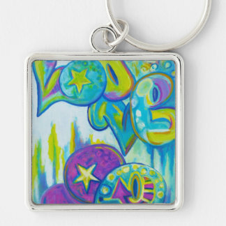 Graffiti Style Love, icases Silver-Colored Square Key Ring
