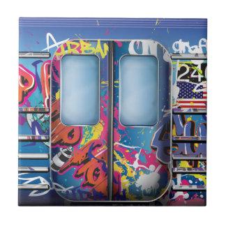 Graffiti Subway Train. Small Square Tile
