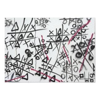 Graffiti Tic Tac Toe 13 Cm X 18 Cm Invitation Card