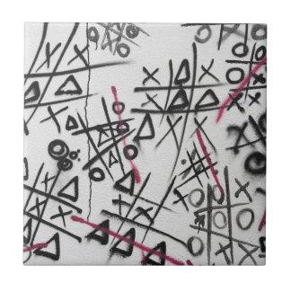 Graffiti Tic Tac Toe Small Square Tile
