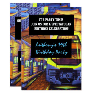 Graffiti Trains Birthday Invitation