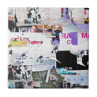 Graffiti Wall Banksy Style Torn Paper Small Square Tile