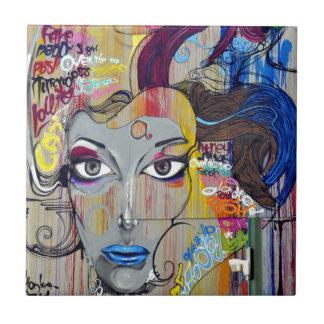 Graffiti Woman Small Square Tile