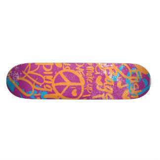 Grafitti Orange, Purple Damask Custom Skateboard