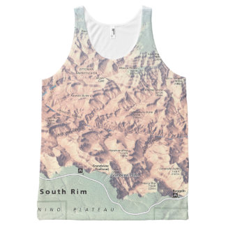 Grand Canyon South Rim map unisex All-Over Print Singlet