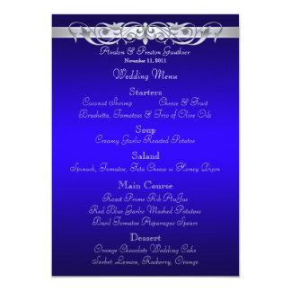 "Grand Duchess Blue Scroll Wedding Menu 5"" X 7"" Invitation Card"