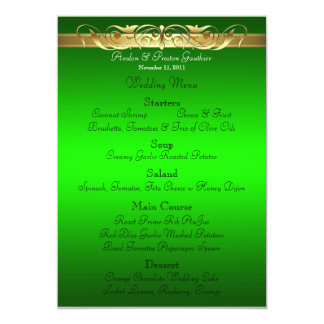 Grand Duchess Green Scroll Wedding Menu 5x7 Paper Invitation Card