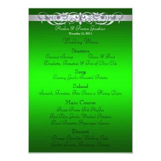 Grand Duchess Green Scroll Wedding Menu 13 Cm X 18 Cm Invitation Card