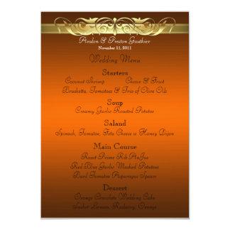 Grand Duchess Orange Scroll Wedding Menu 5x7 Paper Invitation Card