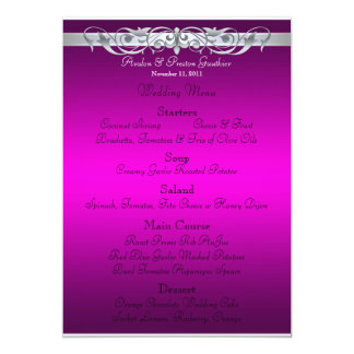 Grand Duchess Pink Scroll Wedding Menu 5x7 Paper Invitation Card