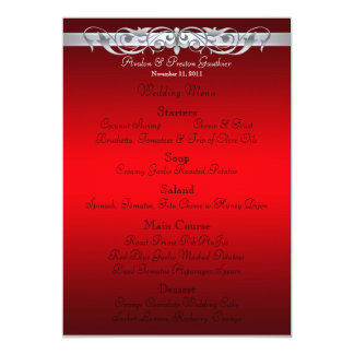 Grand Duchess Red Scroll Wedding Menu 5x7 Paper Invitation Card