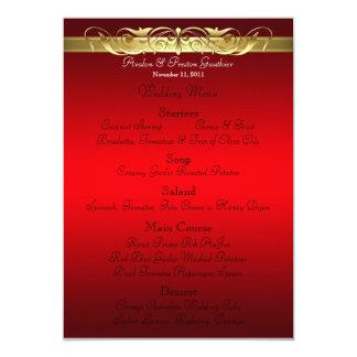 "Grand Duchess Red Scroll Wedding Menu 5"" X 7"" Invitation Card"
