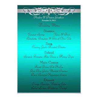 Grand Duchess Teal Scroll Wedding Menu 5x7 Paper Invitation Card