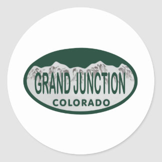 Grand Junction license oval Classic Round Sticker