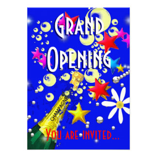 Grand Opening champagne celebration blue Personalised Announcement