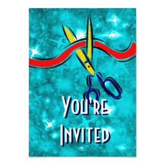 Grand Opening Launch blue party 11 Cm X 16 Cm Invitation Card