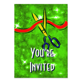 Grand Opening Launch green party 11 Cm X 16 Cm Invitation Card