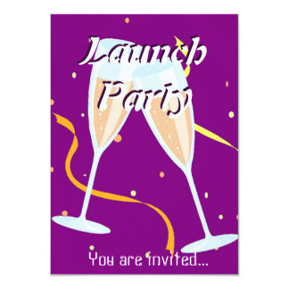 Grand Opening Launch party champagne purple 11 Cm X 16 Cm Invitation Card