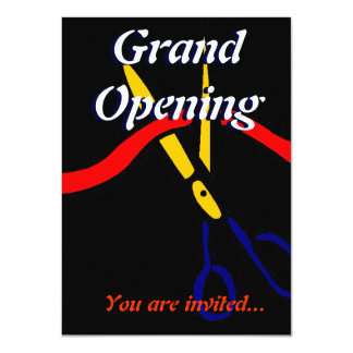 Grand Opening Launch party ribbon cutting 11 Cm X 16 Cm Invitation Card
