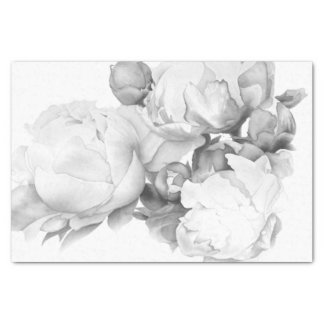 Grand Peony - black and white Tissue Paper