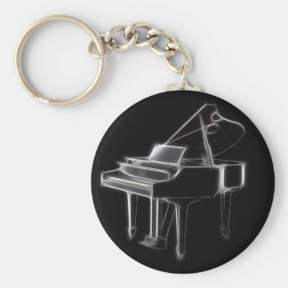 Grand Piano Musical Classical Instrument Basic Round Button Key Ring