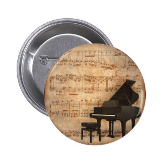 Grand Piano with Music Notes 6 Cm Round Badge