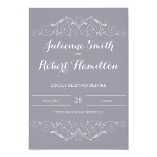 Grand Soiree | Lilac Gray Wedding RSVP Card