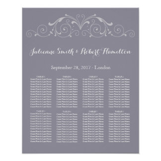 Grand Soiree | Lilac Gray Wedding Seating Chart Poster