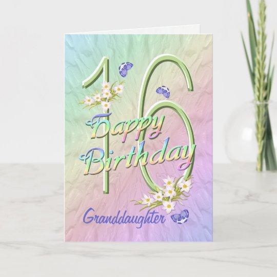 Granddaughter 16th Birthday Butterfly Garden Card