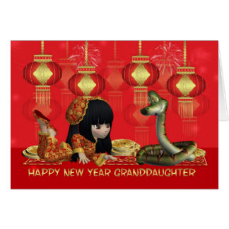 Granddaughter Chinese New Year - Year Of The Snake Greeting Card